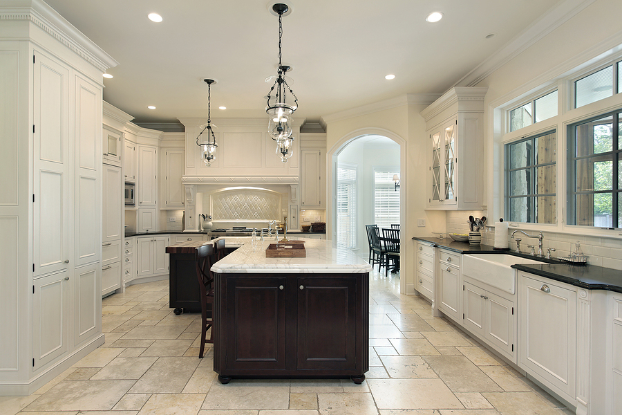1bigstock-Luxury-Kitchen-With-White-Cabi-7271555 Tiles ... - Tile Vs. Hardwood Flooring For Your Kitchen Dream Kitchen And Baths